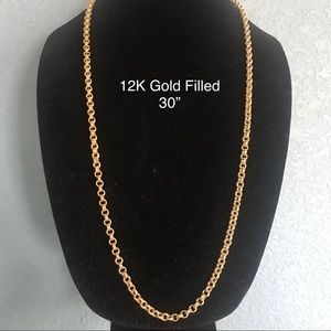 12K YELLOW GOLD FILLED THICK ROPE CHAIN NECKLACE